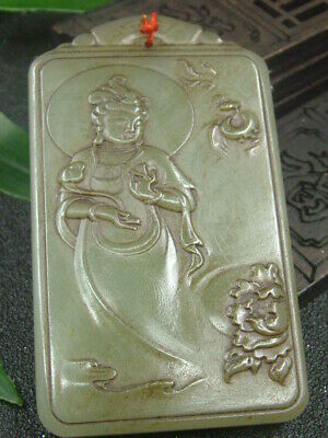 Antique Chinese Celadon Nephrite Hetian- Jade Hollowed KUANY Statue/Pendant