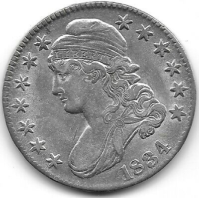 1834 Large Date & Letters Capped Bust Half Dollar