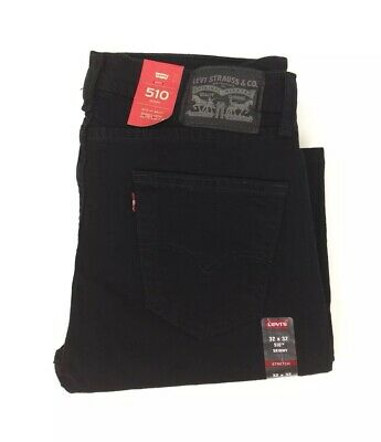 NEW Levi's Strauss 510 Skinny Stretch Mens Black Denim Jeans Red Tab Twill NWT