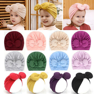 Newborn Baby Infant Turban Cotton Knot Headband Rabbit Ears Head Wrap Beanie Hat