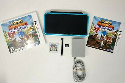 New Nintendo 2DS XL Black/Turquoise Console + 2 Games Ocarnia of Time Sonic Boom