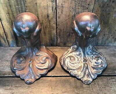 Set of 2 Matching Antique Ornate Cast Iron Eagle Ball Claw Foot / Feet