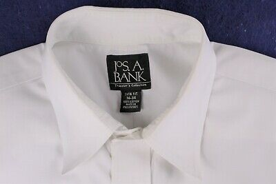 JOS A BANK classic white TRAVELERS COLLECTION slim fit dress shirt 16-34