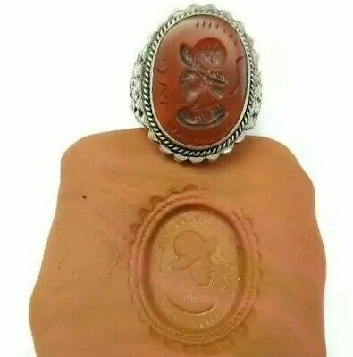 Sterling Silver Rare Antique Roman Seal Genuine Agate Engrave Intaglio Ring 8US