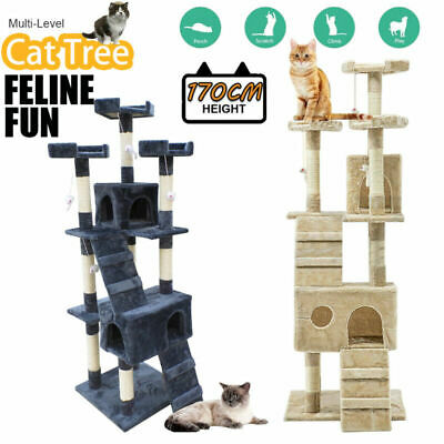 1.7M Cat Tree Trees Scratching Post Scratcher Tower Condo House Furniture Wood
