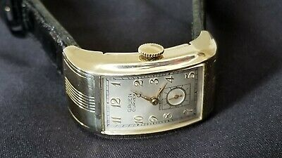 Gruen Curvex Ristside Deco Drivers Watch Gold Filled Cal 330 Croco. Band Ca.1937