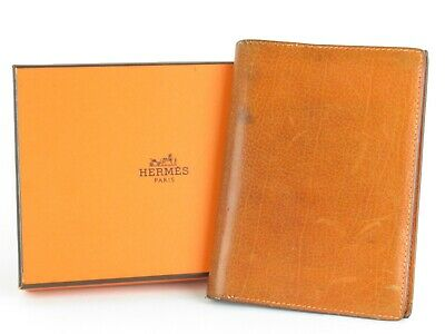 "Authentic Hermes Orange Jean Leather 5.2"" x  3.8"" Agenda Note Book Cover"