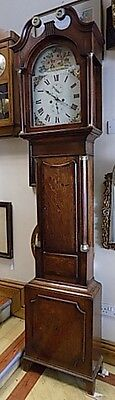 19th century Oak Longcase,Grandfather Clock white enamel floral painted face
