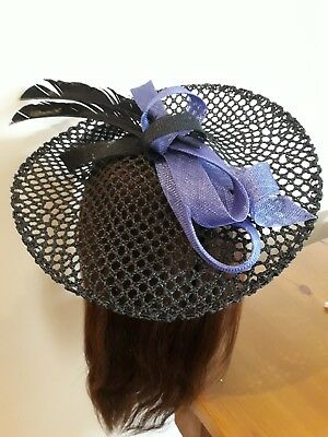 LADIES Black /Blue Fascinator Hat Headband - feather- M & S (WEDDING) slanted