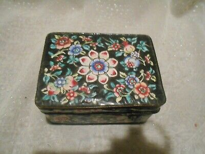 Old Chinese metal rectangular box with lid, hand painted enamel flowers & fruit