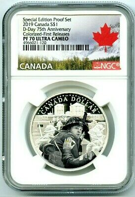 2019 $1 Canada Silver Dollar D-Day Ngc Pf70 Ucam Colorized Proof First Releases