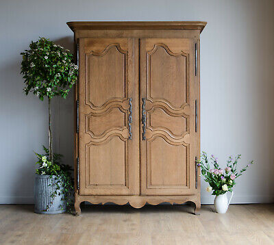 French Antique 19C Knockdown Oak Armoire Wardrobe with Shelves & Hanging Rail