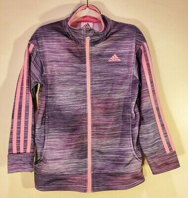 Adidas Jogging Suit Zip Up Jacket Girls size 6X Purple Pink Athletic Sport Track