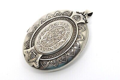 A Stunning Large Antique Victorian Sterling Silver 925 Engraved Locket Pendant