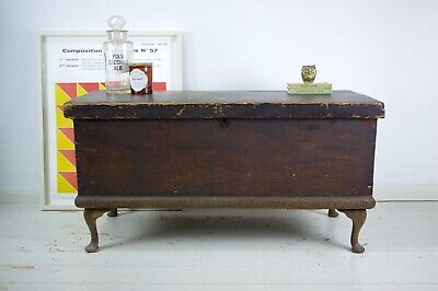 Antique Old Rustic Pine Storage Trunk Wooden Blanket Box Coffee Table Chest Legs