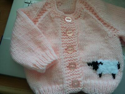 "19"" (3 Mths)  Fluffy Lamb Cardigan for baby ~(NEW) Peachy Pink Hand Knitted"