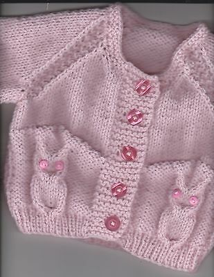 """18"""" (3 mths) Little Owl Cardigan baby girl~ (NEW) Pale Pink~Hand Knitted"""