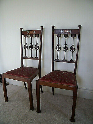Pair Of Lovely Art Nouveau Mahogany Chairs Beautiful Carving And Inlay