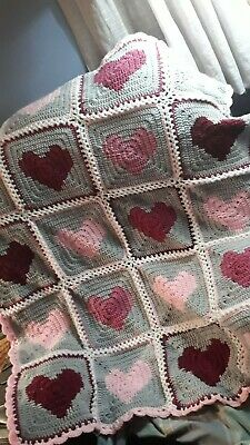 42 in. by 48 in. hand made crocheted heart throw