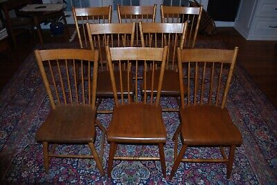 """Set of 8 Antique Arrow Back Rod Chairs (2 sets of 4) Pine Solid Seats 17 3/4"""" H"""