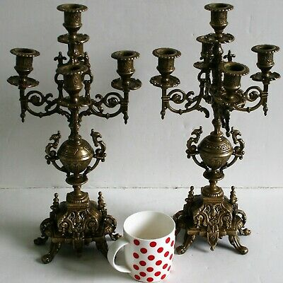 A Pair of Antique French Ormolu Candelabras Candle Holders Luxury Rococo style