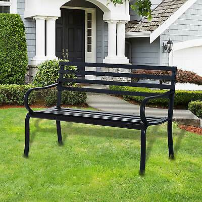 Outsunny 2 Seater Bench Garden Furniture Outdoor Metal Loveseat Seat Patio Chair