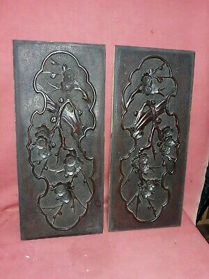 Pair Antique Japanese Wood Carving  Sculpture Panels