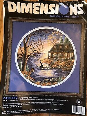 Dimensions Counted Cross Stitch Kit Days End Judy Gibson 15x15 1998 OPENED