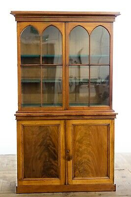 Antique Mahogany Georgian Regency Early 19th Century Gothic Bookcase