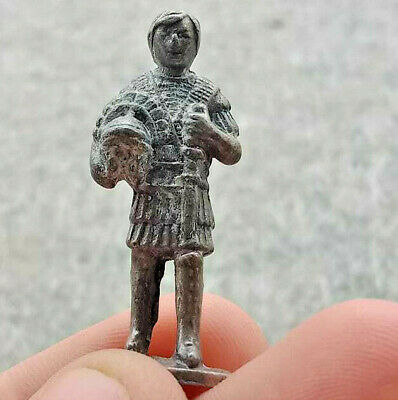 Ancient Antique Roman Warrior Soldier Metal Color Silver Statues RARE With Sword