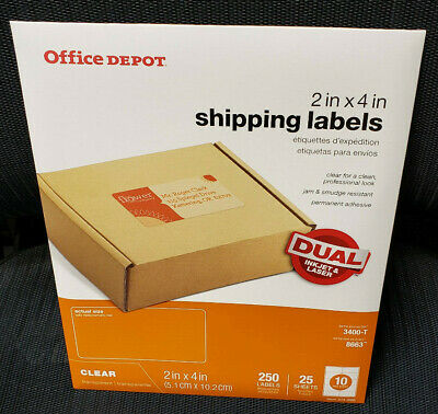 "Office Depot Inkjet/Laser Shipping Labels, 2"" x 4"", Clear, 250 labels"