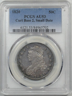 1820 Capped Bust Half Dollar - Curl Base 2, Small Date Pcgs Au-53