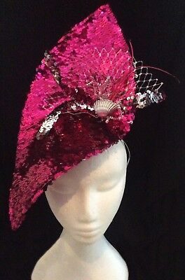 Large Pink Fascinator - Novelty Silver Reversible Mermaid Sequin Shell Hatinator