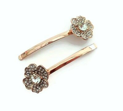 Diamante Hair Slide Grips with Faux Pearls Card of 2 Flower Gilt Gold Tone