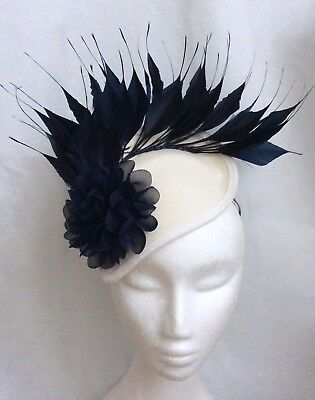 Navy Fascinator - Ladies Day Flower Ivory Wedding Races Ascot Occasion Cocktail
