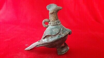 Kumkum Pot Bird Shape Antique Brass Bronze Hindu Statue Figurine Sculpture b-19