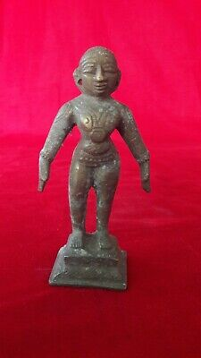 Hindu Diety Goddess Lady Statue Figurine Idol Sculpture Antique Brass b26