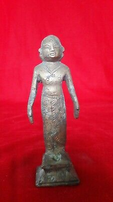 Antique Brass Hindu Temple Diety God Man Statue Figurine Idol Sculpture b/25