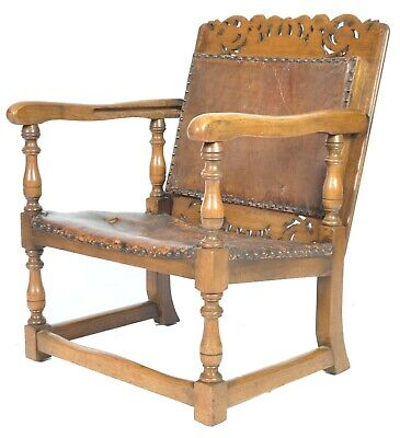 Early 19th Century Victorian Arts & Crafts Carved Oak Folding Monks Chair