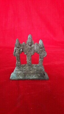 Antique Brass/Bronze Hindu Lord Murugan & 2 Wives Statue Figurine Idol Sculpture