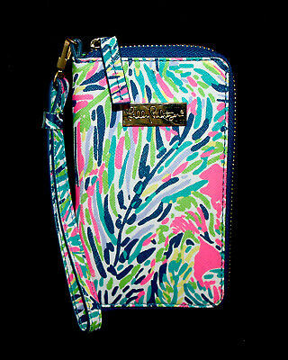 LILLY PULITZER Tiki Palm 11991 Cell iPhone Wallet Wristlet Bifold Zip Around