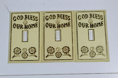 God Bless Our Home Light Switch Cover Bundle, 3 Pack, Vintage, Retro