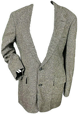 Brooks Brothers Mens 40 L Suit Jacket Sport Coat Camel Hair Houndstooth Blazer