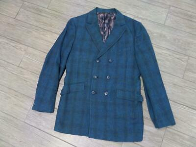 1960s vintage WOOL blazer PLAID usa made 38L blue DOUBLE BREASTED austin powers