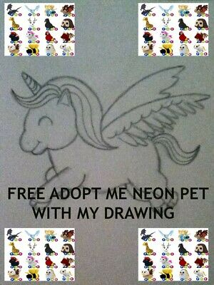 Adopt Me-FREE FNR Neon legendary pet With Every Purchase Of my unicorn drawing