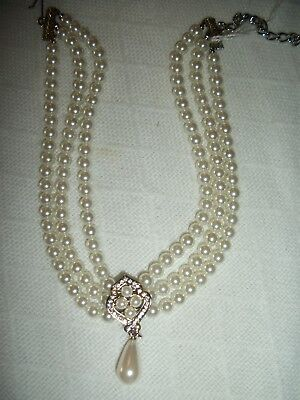 Wedding Bridal 3 Row Pearl Crystal Rhinestone Necklace Silver Plated Jewelry