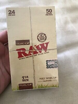24 Raw Organic Hemp Gum Vegan Rolling Papers - Full Box Natural Paper 1 1/4 Size