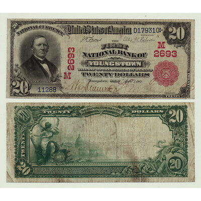 1902 $20 The First National Bank Of Youngstown Ohio Charter # 2693