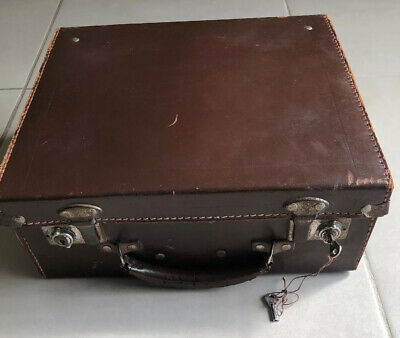 English Vintage CHENEY Suitcase Bag. Brown Small 39 X33cm Bowling Ball Cade Bag