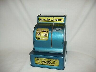 Vintage metal coin bank Blue Uncle Sam register savings toy collectable 3 coin
